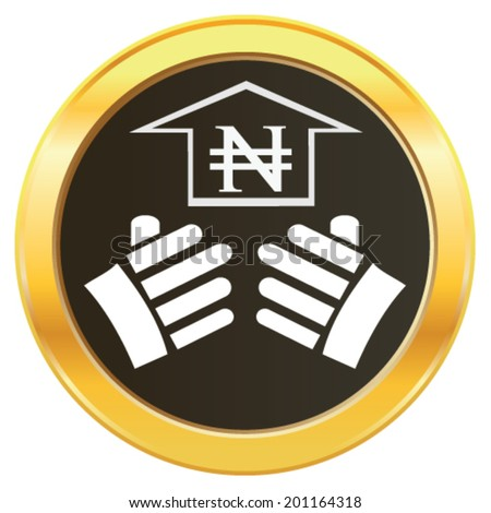 Vector design concept of hand lifting the growth of Nigeria currency symbol Naira representing money on golden web button icon. Vector concept of addiction to choose investment ideas and growth.  - stock vector