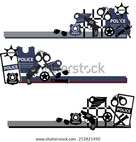 Vector design concept police symbols in set in dsrk colors - stock vector