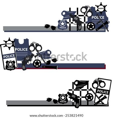 Vector design concept police symbols in set in dsrk colors - stock vector