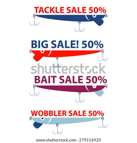 vector design concepts with bait wobbler for sale fishing tackle shop - stock vector