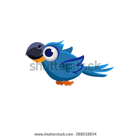 Vector Design Cute Macaw Parrot Mid-air On White Background