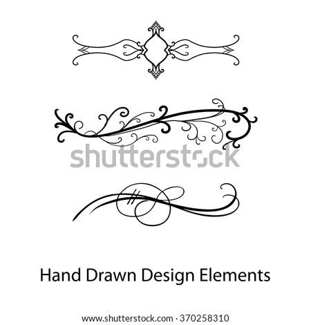 Vector Design Element Beautiful Fancy Curls And Swirls Divider Or Underline Black Ink