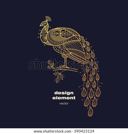 Vector design element - peacock. Icon decorative bird isolated on black background. Modern decorative illustration animal. Template for creating logo, emblem, sign, poster. Concept of gold foil print. - stock vector