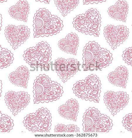 vector design element, seamless pattern, heart, floral ornament, leaves, valentine's day, greetings, card, package, pink,love, wedding