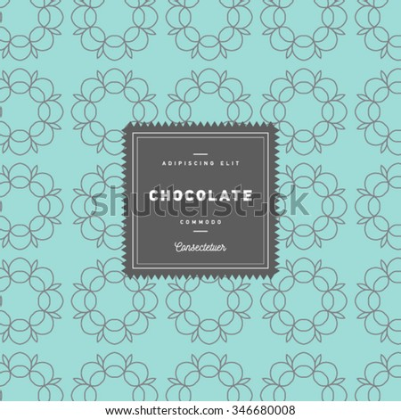 Vector design elements and seamless pattern for chocolate and cocoa packaging - labels and background, wallpaper in trendy  linear style. Pattern for cafe, sweet-shop, pastry shop - stock vector