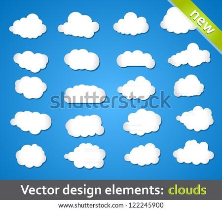 Vector Design Elements. Clouds. - stock vector