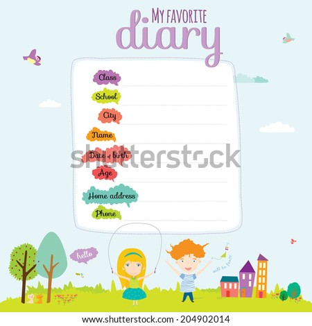 Vector design elements for notebook, diary, stickers and other template design. Cute and cartoon illustration, ready for your message. School accessories. - stock vector