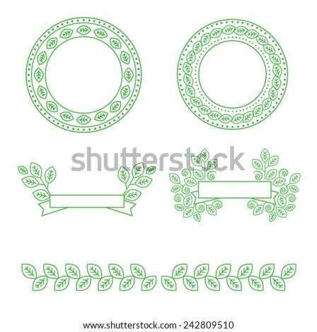 Vector design elements for organic natural logos - stock vector
