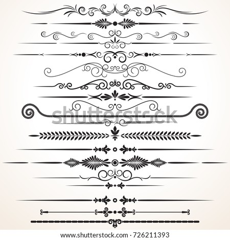 Vector Design Elements. Ornamental Lines to Embellish your Book, Wedding Invitation, Greeting Card or Menu