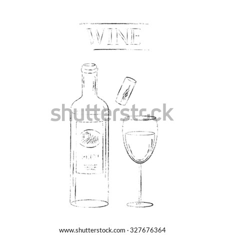 Vector design elements. Red wine glasses, cork, corkscrew and red wine bottle and wine grapes set. Various types of wine glasses. Grungy sketch illustration for wine list, party menu background. - stock vector
