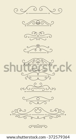 Vector design elements set. Linear style divider for page decor. - stock vector
