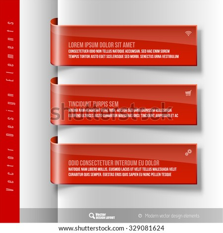 Vector design elements. Three red ribbon on the gray sheet. Color banners. - stock vector