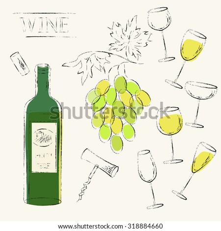 Vector design elements. White wine glasses, cork, corkscrew and white wine bottle and wine grapes set. Various types of wine glasses. Grungy sketch illustration for wine list, party menu background. - stock vector