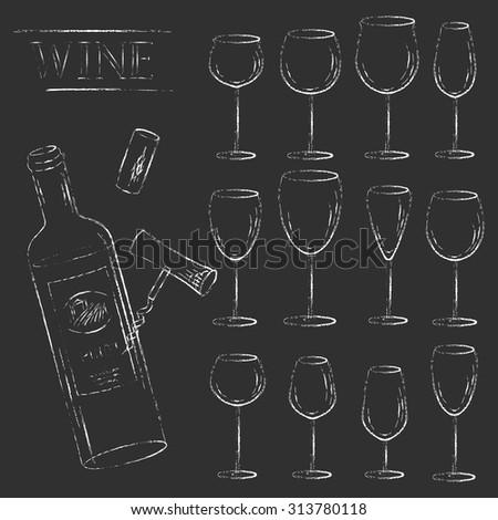 Vector design elements. Wine glass, cork, corkscrew and open bottle set. Various types of wine glasses. Grungy chalk sketch illustration. - stock vector