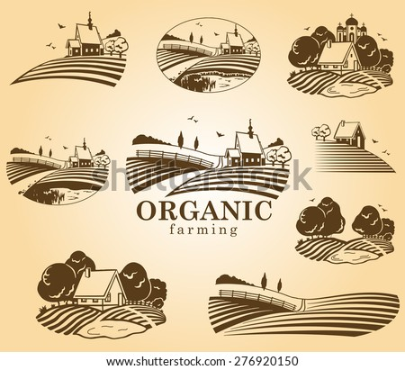 Vector design elements with rural landscapes. - stock vector