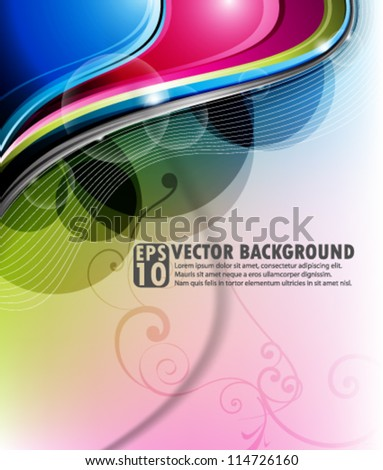 vector design- eps10 abstract multicolor wave background - stock vector