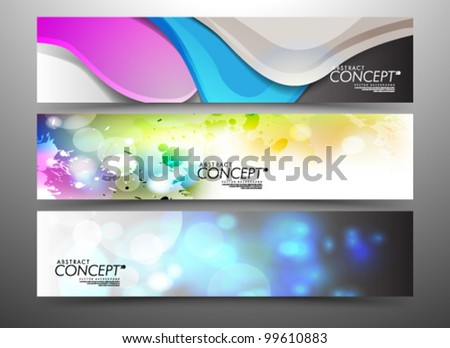 Vector Design - eps10 Abstract Website Horizontal Banner Set Illustration