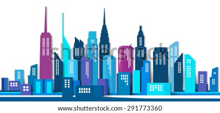 Vector Design - eps10 Building and City Illustration, Abstract Paper 3D Building, Abstract  City scene - stock vector