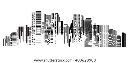 Vector Design - EPS10 Building and City Illustration at night, City scene on night time, Night cityscape - stock vector