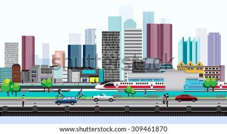 Vector Design - Eps10 City lifestyle, City Life, Design Lifestyle in Metropolis Concept, Urban cityscape  - stock vector