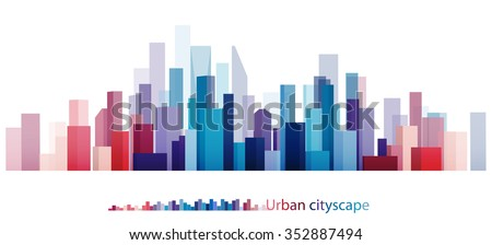 Vector Design - eps10 Colorful Building and City, Urban cityscape, Abstract of city image, The image twilight in city. - stock vector
