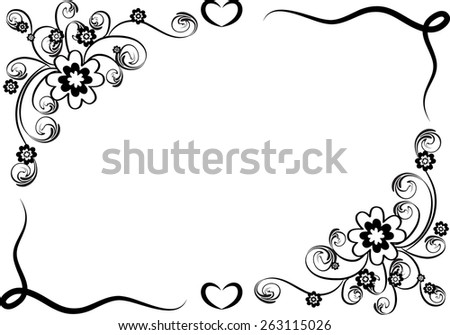 Black And White Border Designs Vector Design Flowers