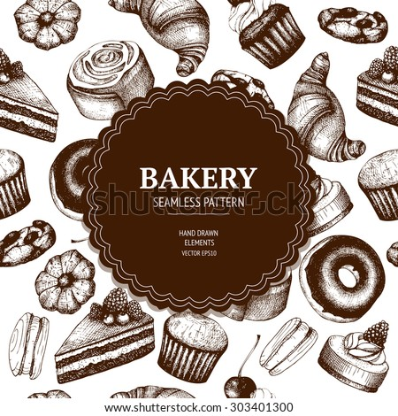 Vector design for bakery or baking shop with hand drawn bread and pastries illustration. Vintage bakery sketch background. Seamless pattern. - stock vector