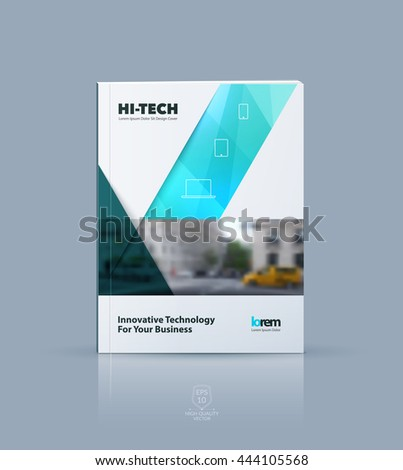 Vector design for cover annual report. Brochure or flyer template in A4 with blue ribbon stripe shape in polygonal style for technology concept layout for business. Abstract modern poster.