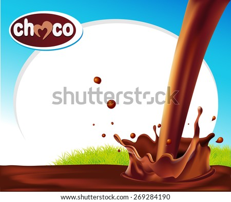 vector design frame with chocolate splash and green grass - stock vector