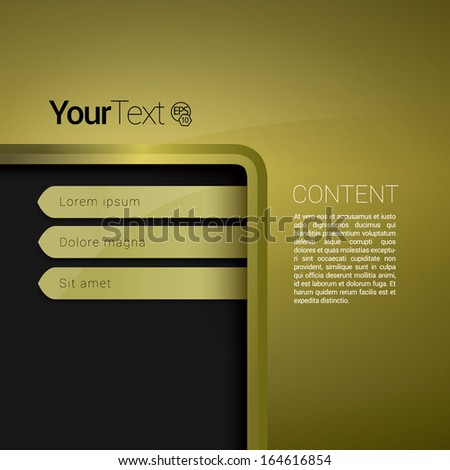 Vector design. Gold bottom corner edition of a scalable abstract geometric flat gui for placing objects, images, icons, photos & content. For print, for desktop, application & universal use. - stock vector