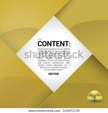 Vector design. Gold edition of a shiny scalable eps10 format square framed  text box with custom/adjustable background element for brochure, infographics, greetings card or for universal use - stock vector