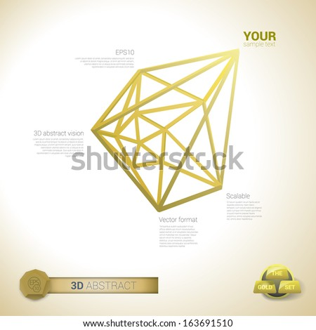 Vector design. Golden edition of a 3d abstract minimal edgy pointy lattice network  illustration composition, scalable eps10 background for infographics, for webdesign, print or for universal use - stock vector