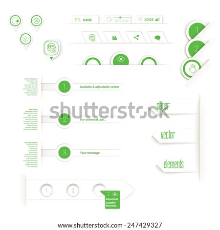 Vector design, green edition of adjustable eps10 vector composition an abstract minimal geometric origami paper background elements with buttons and tabs for numbering for universal use