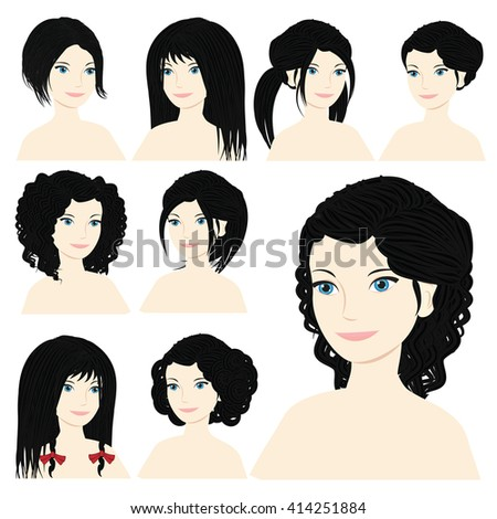 Vector design icon set. Beautiful brunette woman with different types of hairstyle, hairdo, haircut. Curly, long, caret, braids, bun, chignon, pigtails hair. Flat Fashion illustration   - stock vector