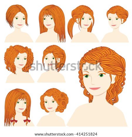 Vector design icon set. Beautiful redhead woman with different types of hairstyle, hairdo, haircut. Curly, long, caret, braids, bun, chignon, pigtails hair. Flat Fashion illustration  - stock vector