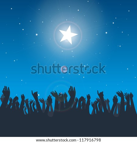 Vector design illustration of several hand silhouettes reaching for the big bright star. - stock vector