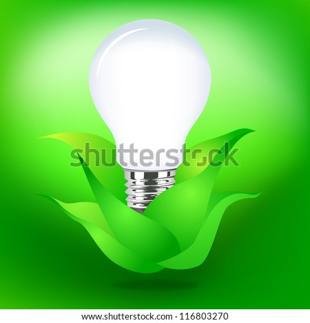 Vector Design - Illustrator eps 10 Eco Green Concept with Lamp in Leaves on green background.