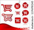 Vector design kit of shopping cart icons with banner. - stock vector