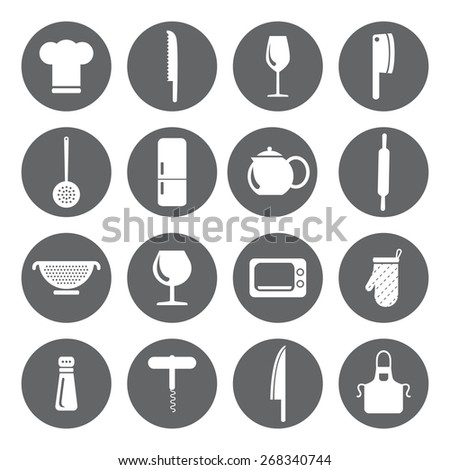 Vector design kitchen flat icons for web, white on grey basis - stock vector