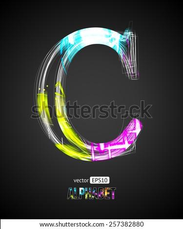 Vector Design Light Effect Alphabet. Letter C on a Black Background. - stock vector
