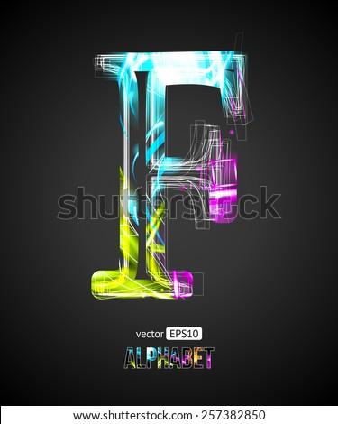Vector Design Light Effect Alphabet. Letter F on a Black Background. - stock vector