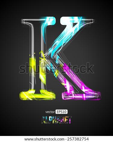 Vector Design Light Effect Alphabet. Letter K on a Black Background. - stock vector