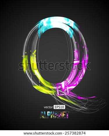 Vector Design Light Effect Alphabet. Letter Q on a Black Background. - stock vector