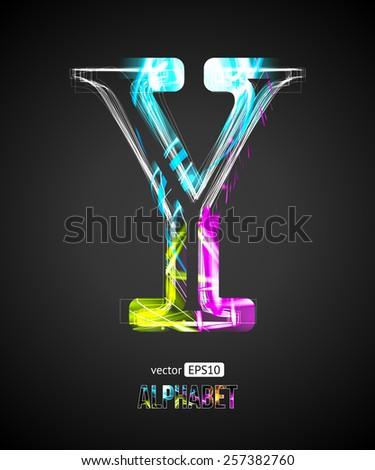 Vector Design Light Effect Alphabet. Letter Y on a Black Background. - stock vector