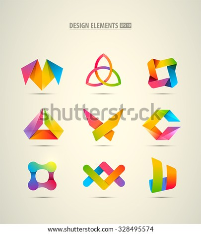 Vector design logo elements big set. Corporate identity icons - stock vector