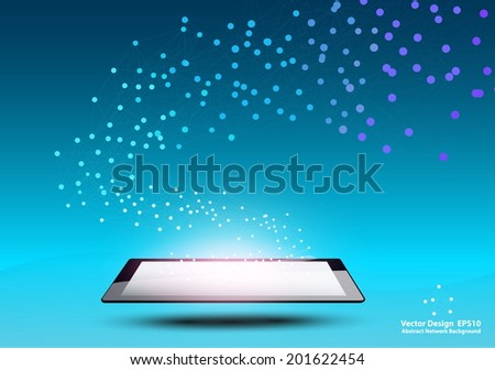 Vector design Network and Technology concept on Tablet computer, Abstract Mesh Background - stock vector