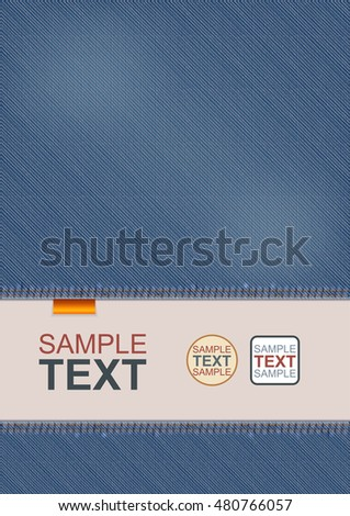 Vector Design Of A4 Flyer, Cover Or Poster Template. Realistic Closeup Denim Decoration