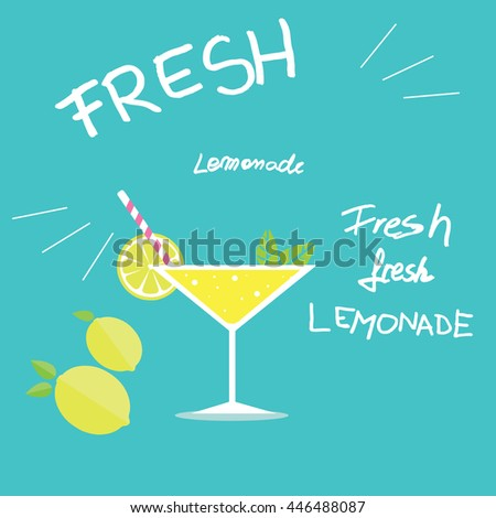Vector design of a glass full of lemonade next to lemons with mint leaves