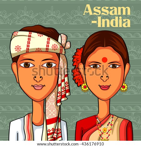 Vector design of Assamese Couple in traditional costume of Assam, India - stock vector