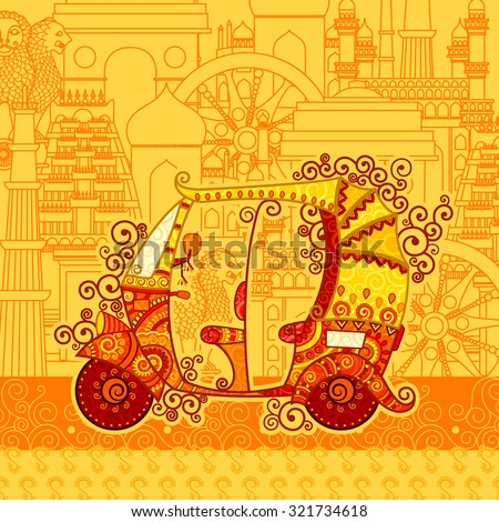 Vector design of auto rickshaw on famous monument backdrop in Indian art style - stock vector